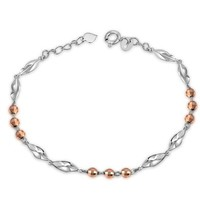 14K Rose & White Gold Diamond-Cut Beads Twisted Segment Bracelet (6.5')