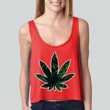 Weed Leaf girly boxy tank top Funny and Music