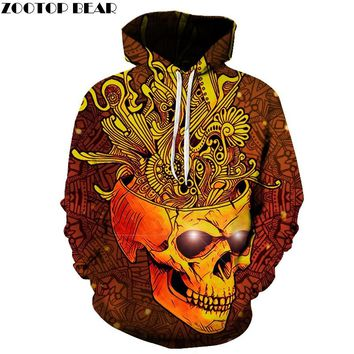 Golden Skull Printed Men 3D Sweatshirts Pullover Hooded Jackets