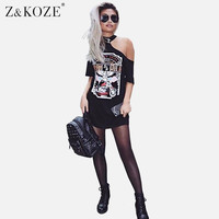 Z&KOZE 2017 New Womens One Cut Out Cold Shoulder Bandage Printed T-Shirt Mini Dress Lady Sexy Summer Dresses Club Party Vestidos