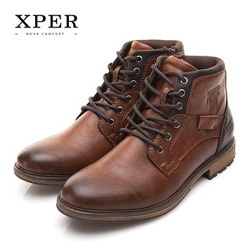 XPER Winter Men Boots Vintage Style Men Shoes Casual Fashion High-Cut Lace-up Warm FREE SHIPPING!