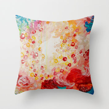 SUMMER DAYS Feminine Pretty Pink Red Peach Abstract Acrylic Painting Whismical Nature Color Splash Throw Pillow by EbiEmporium