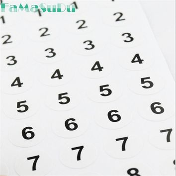280pcs Numbered Sticker 0-9 Sequential White Small 1cm Round Circle Number Label Consecutive For Party Gift 4 sheets