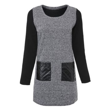 Stylish Round Collar Long Sleeve Color Block Faux Leather Spliced Women's Dress