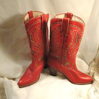 Red Leather Cowgirl Boots with bronze leather inserts