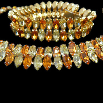 Kramer Rhinestone Jewelry Set Necklace and Bracelet Amber and Citrine
