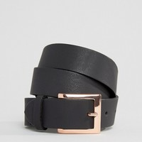 ASOS CURVE Leather Rose Gold Buckle Waist And Hip Belt at asos.com