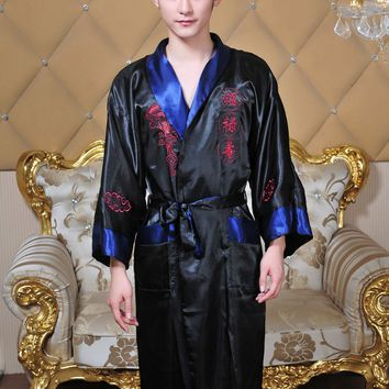 Free Shipping!Reversible Double-Face Chinese Men's Silk Satin Embroider Dragon Robe Gown With Belt Free Size MR005