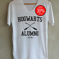 Hogwarts Alumni Hogwarts Harry Potter Shirts V-Neck White Unisex Adult Size S M L