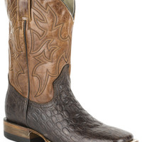 Roper Mens Faux Exotic On Leather Sq Toe Boots Faux Brown Sea Turtle Rust Shaft