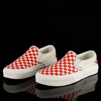 Vans Fashion Women Leisure Classic Canvas Old Skool Checkerboard Print Flats Shoes Sneakers Sport Running Shoes Red I