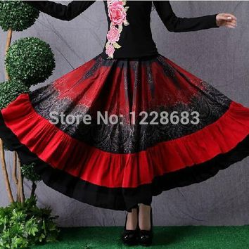 Red Black Women Long Belly Dance Skirt Gypsy Clothing Adult Lady Gypsy Costume