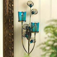Majestic Double Peacock Feather Plume Stem Flower Candle Holder Wall Sconce
