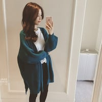 Petite Loose Style Bat Sleeves Oversized Warm Knit Cardigan Sweater