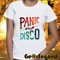 Women's T Shirt Panic At The Disco Logo on Galaxy Colours Available, Clothing Ladies