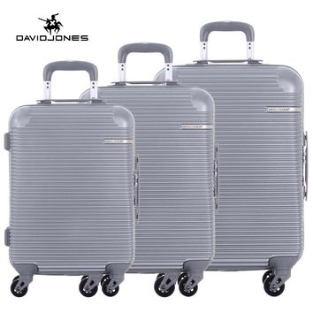 DAVIDJONES 3 piece luggage sets hardside  suitcase TSA lock & spinner wheels