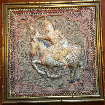 hand stitched beaded man riding horse hindu art framed vintage crafts home decor living room