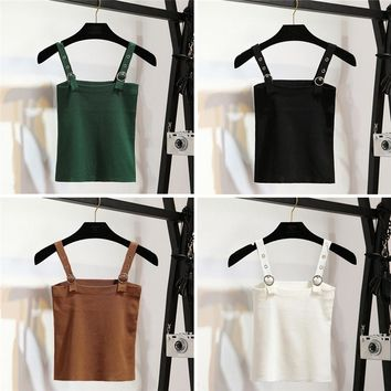 Sexy Women Summer Plain Camisole Knitted Sling Tie-wrap Buckle Vest Slim Casual Tank Tops