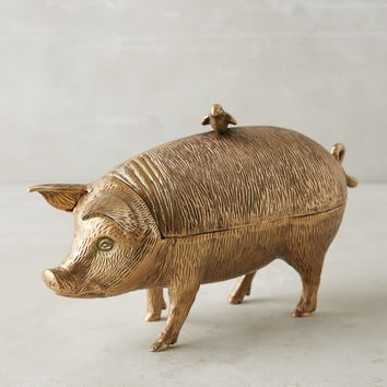 Patinaed Pig Decorative Object