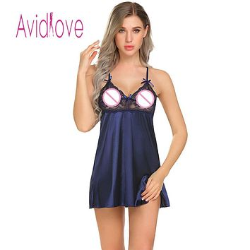 Sexy Women Satin Chemise Slip Babydoll Sheer Lace Patchwork Nightwear with G-String