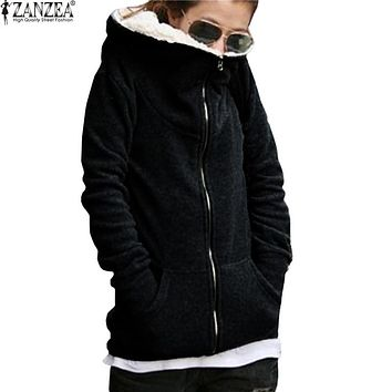 Winter Womens Sweatshirt Hoodie Coat Casual Zipper Up Long Sleeve Fleece Hooded Outwear Jackets Black/Gray - Plus Size Available