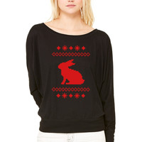 norwegian bunny christmas rabbit hare knitting pattern winter snowflake snow crystal frost snow flow WOMEN'S FLOWY LONG SLEEVE OFF SHOULDER TEE