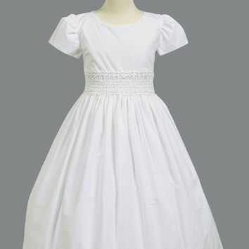 Cotton Communion Dress with Smocked Waist LT-SP108