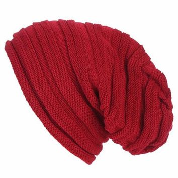 [16452] Slouchy Striped Beanie Hat