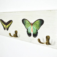 Off-white cottage farm chic coat rack | wood with metal hooks | vintage design butterfly print | boheme chic | rustic distressed antique
