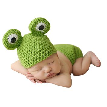 2017 Newborn Baby Photo Photography Props Crochet Knit Costume Cute Big Eyes Frog Outfits Newborn Photography Accessories