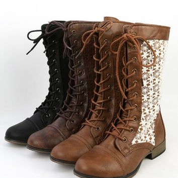 Chapter-31 Tan Lace Overlay Combat Boots | MakeMeChic.com