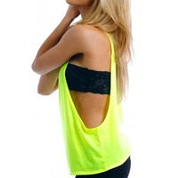 Women's Juniors Open Sides Sleeveless TANK TOP: NEON YELLOW