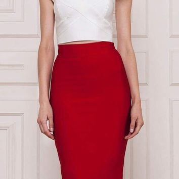 High Waist Midi Bandage Skirt