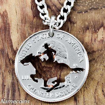 Equestrian Necklace, Galloping Horse jewelry,  hand cut coin by NameCoins