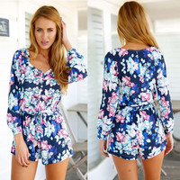 Blue Floral Print High Waisted Romper