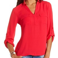 Mixed Media Pullover Blouse: Charlotte Russe