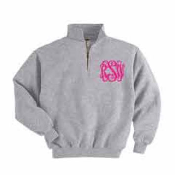 1/4 Zip Monogrammed Sweatshirt for Women - Navy, Grey or Black Sweatshirts Embroidered with Initials from The Palm Gifts