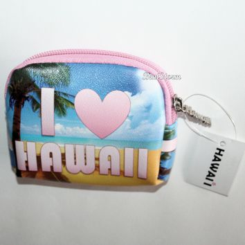Licensed cool I LOVE Hawaii Ocean Palm Tree Coin Purse Bag Pouch w/state name zipper pull NEW