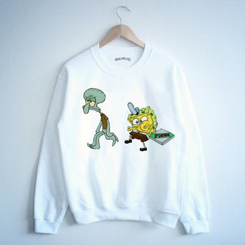 Sponge bob pizzas T shirt Muscle tank top Crewneck sweater Tee Tumblr unisexe white tee shirt tumblr graphic size S M L