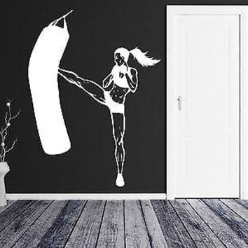Wall Vinyl Sticker Decal Fitness Girl Kickboxing Fighting Martial Arts Unique Gift (z3036)