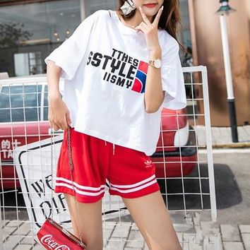 """Adidas"" Women Loose Casual Fashion Letter Multicolor Print Short Sleeve T-shirt Stripe Shorts Set Two-Piece Sportswear"