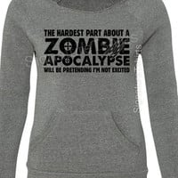 Zombie Apocalypse Sweatshirt - Girly Pullover - Halloween Off Shoulder - Womens Sweater-  Sport Fleece Sweatshirt - Off Shoulder Sweatshirt
