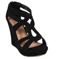 Strappy Open Toe Platform Wedge,Lindy-03 Black 7.5