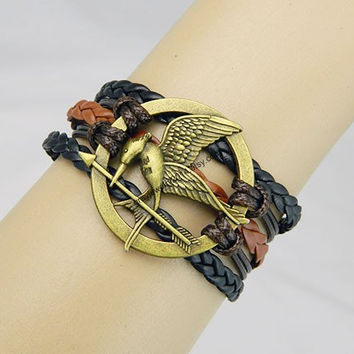 Hunger games,catching fire,mockingjay pin bracelet,Couples bracelet,leather bracelet,hipsters jewelry,lover bracelet,braided bracelet,brown