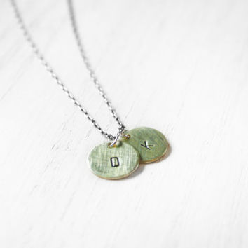 Two Monogram Charms Necklace - brass gold personalized mommy mom letter initial charm sterling silver chain mixed metal