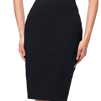 2017 Pencil Skirt Jupe Women's OL High Stretchy Hips Wrapped Knee Length Skirt Faldas Laidies High Waist Black Skirt