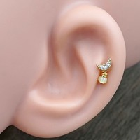 Gold Crescent Moon Cartilage Earring Tragus Helix Piercing