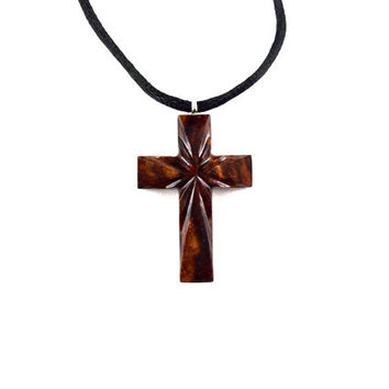 Wooden Cross Necklace, Wooden Cross Pendant, Cross Necklace, Christian Jewelry, Wood Cross Pendant, Hand Carved Cross