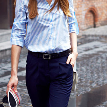 Sky Blue Stripe Pointed Collar Roll-up Sleeve Shirt