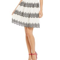 Chelsea & Violet Striped Lace Skirt | Dillards